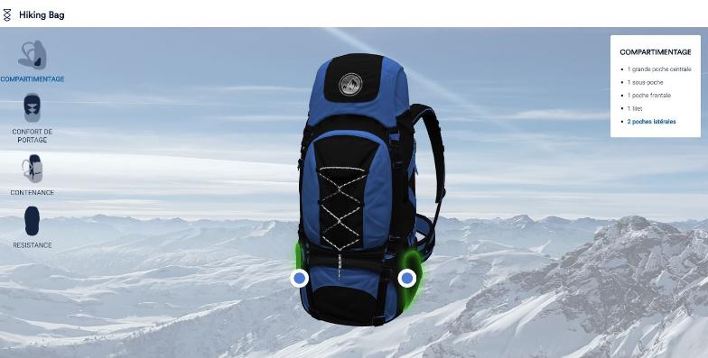 configurateur 3D de sac à dos