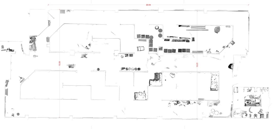 exemple d'une vue orthographique de dessus du scan 3D