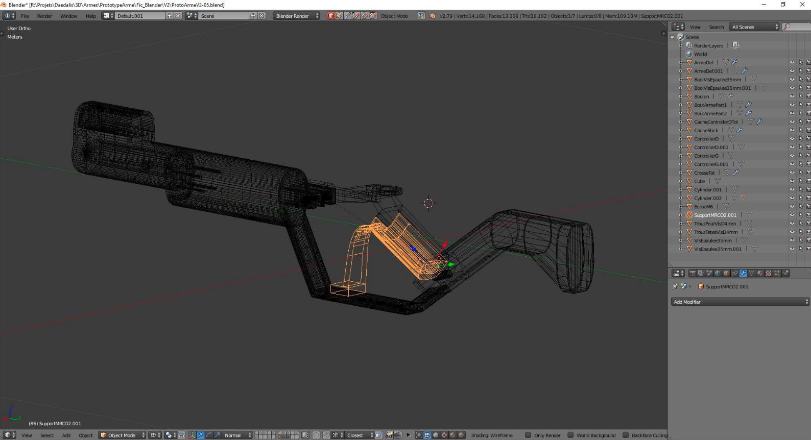 Modélisation de l'arme en 3D