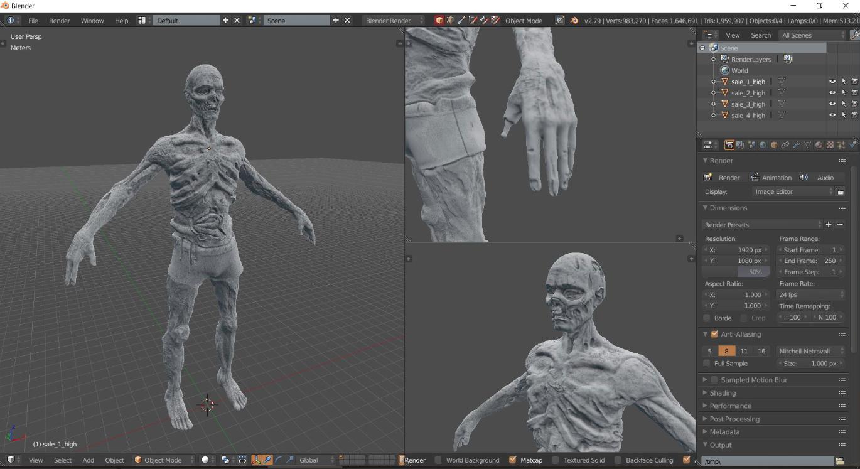 modélisation zombie propagation vr sur Blender